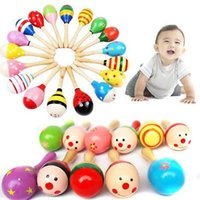 Wholesale Random Color Wooden Maraca Wood Rattles Kids Musical Party favor Child Baby shaker Toy Beach