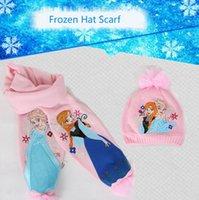 1sets presentes Congelado Cachecol Congelado Hat 2pcs set / kids Snow Queen Elsa Anna menina quente de inverno lenços cap / princesa lenço Melhor Chrismas = Scarf + Hat