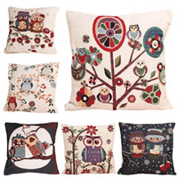 Wholesale Cotton Linen Owl Bird PillowCase Home Room Decor Back Throw Pillow Sofa Cushion Cover Car covers