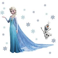 Wholesale New Frozen Wall Stickers Queen Elsa Olaf Decorative Wall Decal Cartoon Wallpaper Kids Bedroom Decoration Christmas Home Wall Art FROZ40