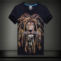 animal headphones - Printed D T shirts Lions headphone primer shirt printing new green tie dye Male Rock DJ short sleeve shirt DT