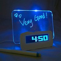 Wholesale 2015 New Arrive USB Blue LED Fluorescent Message Board Digital Alarm Clock Hub Calendar Night light