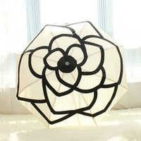 Wholesale High end boutique small fragrant camellia automatic umbrella sun shade UV umbrella classic women s umbrella