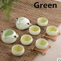Wholesale Chinese high quality Crafts Ceramic white porelain drink ware Kungfu tea set Tea pot Tea cups Eight piece Set in green white