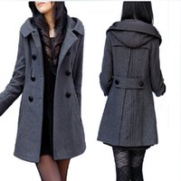 Wholesale Hot Sales Brand Double Breasted Warm Wool Coat With Hood Long Winter Jacket Black Grey Extra Large Women Overwear A142