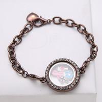 Wholesale 25mm Silver Styles Crystal Diamante round Circle DIY Living Memory Locket Bracelet For Floating Infinite Charms Bracelets