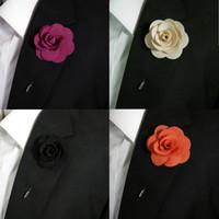 Wholesale Boutonniere Silk Blend Fashion Mens Lapel Flowers Handmade Stick Pin Wedding