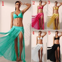 Wholesale 50PCS LJJJ13 Sexy Women Swimwear Bikini Cover up Beach Dress Design Pure Colour Springy Gauze Skirt Bathing Suit Not Contain Bikini