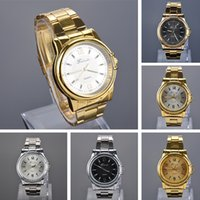 Gold Black wrist watches for men - Fashion men s wristwatches Alloy Quartz Wrist Watch gold watch with Steel Band for Men