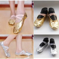 arrival pointe - 2015 New Arrival Women Girl Gold Silver Ballet Pointe Gymnastics Sequins Leather Adults Children Soft Dance Shoes Size