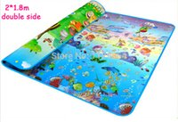 Wholesale 2 m Baby Crawling Play Mat Double Sided Animals Zoo Blue Ocean Kids Toy Blanket Child Picnic Carpet Outdoor Play Floor W197