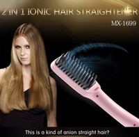 Wholesale 2in1 ion hair straightener brush professional electric PTC heating straightening Irons hair comb brush new English package