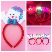 Wholesale New LED Light Christmas Headband Christmas Snowman Deer Stlys Children Adults Hair Accessories Christmas Suppliers Cheap Festive Party