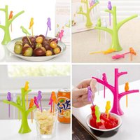Wholesale Hot Fashion Lovely Plastic Tree Birds Design Fruit Forks Stand And Forks Convenient Home Kitchen Tools