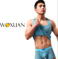 Wholesale fashion gym tank top mens sexy gay male Cute underpants underwear Mesh net undershirts vest shorts sets for sports bodybuilding
