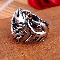 2015 de la moda gótica del anillo para hombre Dragón Totem aleación de zinc El hombre del anillo anillos de plata antiguos de la vendimia Envío libre JJAL R92