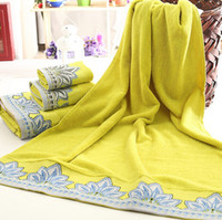 yellow towels - 2014 Winter cm Yellow Maple Leaves Satin Cotton Terry Bath Towels Set Three piece Three Dimension Adult Children High Quality Towel