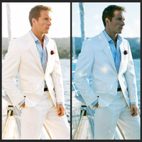 Wholesale 2016 White Linen Blazer Custom Made Linen Suit Sharp Look Tailored Groom Suit Bespoke Mens Linen Suits For Wedding Tuxedos