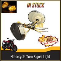 Wholesale A Pair of V Motorcycle LED Turn Signals Indicator Smoke Lens Lamp Amber Light for Kawasaki ZX6R ZX7R ZX9R ZX636 ZX12R ZZR600