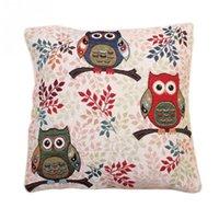 Wholesale Vintage Cute Owl Pattern Cotton Linen Pillow Case Sofa Throw Cushion Cover Home Decor