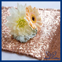 Wholesale RU017E Nice glitter beaded metallic sequence rose gold sequin table runner