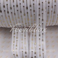arrow stick - New quot gold foil arrows printed fold over elastic white yards roll