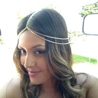 Wholesale Only Summer Style Piece Wedding Head Chain Women Bohemian Headpiece Headband Metal Chain Hair Head Jewelry Boho Accessories CPA186