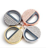 ac pendant stainless - Hot mm Stainless Steel Alloy silver or gold Twist Open Floating Living Lockets diy half Glass round Locket for necklaces bracelets ac