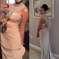 beaded jersey - 2015 Crystal Long Sleeve Prom Dresses High Neck Rhinestone Crystal Mermaid Asymmetrical Keyhole Jersey Fit and Flare Evening Dresses