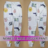 Wholesale Raisevern newest emoji jogger pants for women men boy girl gun dollar print white sweatpant sport skinny trousers sale