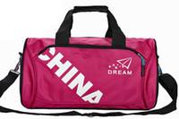advertising packing bag - Sale Folding stripe gym bag Large capacity travel bag Advertising package barrels pack his sports bag