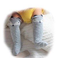 designer socks - 2015 Fancy designer grey kawaii cartoon fox Brand leg warmers baby Boys girls legging socks protectors for children knee pads