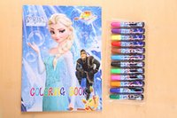 Wholesale New Frozen Baby Suits Watercolor Pen P Colouring Pictures P Color Stickers Kids Children Puzzle Painting Holiday Gift DHL