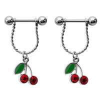 Wholesale 2015 New Arrivel Cherry Nipple Piercing Jewelry Nipple Rings Jewelled Body Piercing Jewelry L Stainless Steel Belly Shield Nipple