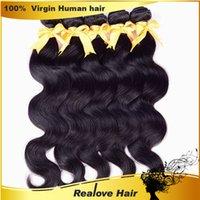 Wholesale Realove Hair6A Brazilian Body Wave Hair Weaves Brazilian Human Hair Weave Remy Glossy Hair Extensions Best Quality Virgin Hair