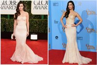 Cheap 2015Best Selling Elegant Megan Fox Strapless Sweep Train Mermaid Ruched Lace Celebrity Evening Dress Vestidos De Red Carpet Dress y01