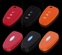 Wholesale Silicone Key Case Ford - Wholesale-Free Shipping Good Quality Key FOB Case Silicone Car Key Case For Ford 12 Focus