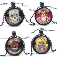 Wholesale The Day of Dead Halloween Decorations Cartoon Necklaces Black Ball Chain Necklaces Skull Pendnats Necklaces Halloween Props for Men Boys