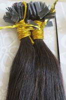 Cheap Brazilian Hair flat tip hair extensions Best 1B# Natural black Straight brazilian hair extensions