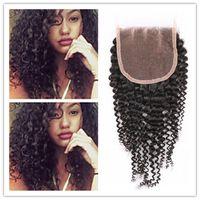 africa weaving - Peruvian Indian Malaysian Mongolian Brazilian Africa Curl Top Lace Closure VirginHair Weave Cheap A Kinky Curly Human Hair Extensions
