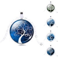 Wholesale Retro Life tree pendant necklace Gemstone cabochon silver statement chain Necklace Glass Cabochon Pendant Jewelry for Women a900