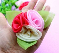 big cabbage - 20pcs big cabbage Chiffon puff flower Green leaf inch flower Bloom flower headband supplies hat garment supplies