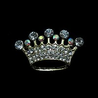 ab crystal tiaras - Gold Plated Clear and AB Rhinestone Crystal Diamnte Crown Tiara Brooches Gift for Pageant