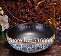Wholesale European Antique blue and white Ceramic Wash Artistic Wash Basin DS