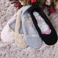 Wholesale Womens Cotton Lace Sock Slippers Ladies Antiskid Silicone Anti slip Invisible Liner No Show Peds Low Cut Shallow Mouth Socks