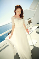 Wholesale New chiffon dresses for women spring summer slim casual white lace dresses long bohemia sandbeach dress women s clothes clothing