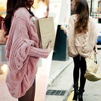 Wholesale Women Sweater Autumn And Winter Equipment New Rough Knitted Korea Bat Sleeve Sweater Shawl Cardigan Looser Ladies Padded Coat