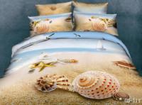achat en gros de reine housse de couette shams-Beach seashell starfish Ensemble de literie en coton reine avec housse de couette réversible / couette couvre-oreillers en caoutchouc plat 4 / 5pc ensembles de couette