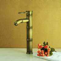 bamboo basin faucet - All copper hot and cold taps bathroom accessories copper heightening scimitar European antique bamboo basin faucet