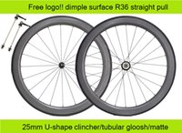 Wholesale U shape mm width mm dimple surface brand design free logo full carbon road bicycle bike wheels with R36 hubs straight pull spokes